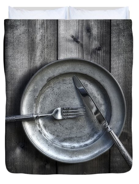 Plate With Silverware Duvet Cover