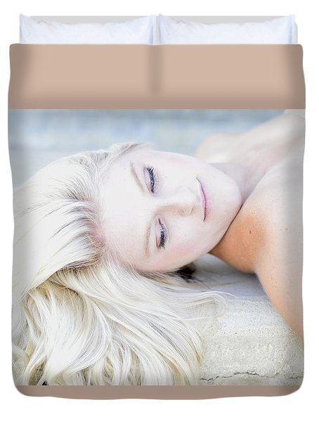 Duvet Cover featuring the photograph Platinum Blonde Blue Eyes by Pamela Patch