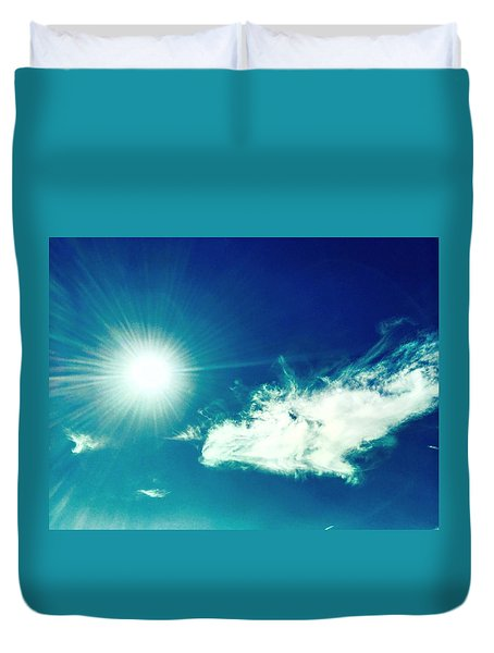 Platinum Rays And Angelic Cloud Bless The Prairie Duvet Cover