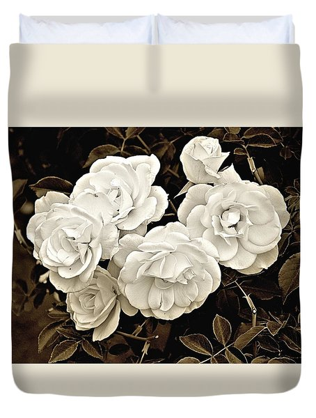 Platinum Roses Duvet Cover by Bob Wall