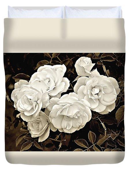 Platinum Roses Duvet Cover