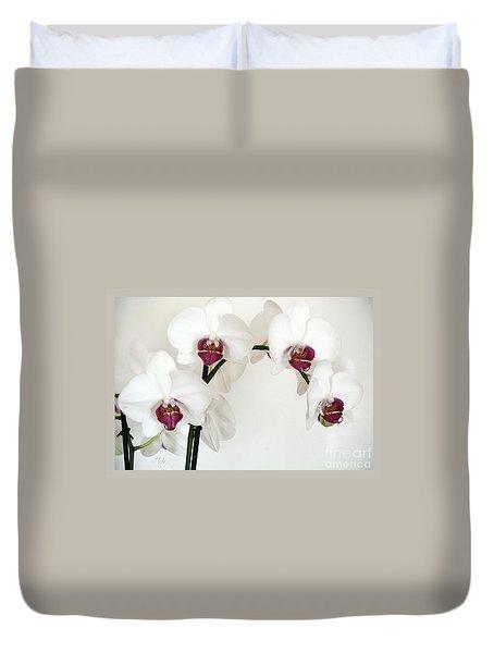 Platnum Beauty Orchids Duvet Cover by Marsha Heiken