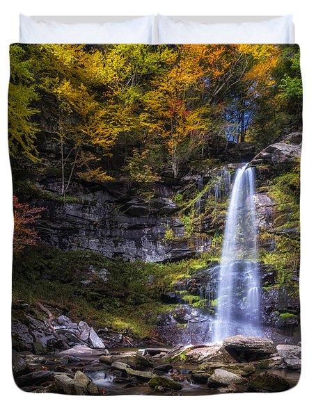 Duvet Cover featuring the photograph Plattekill Falls by Mark Papke