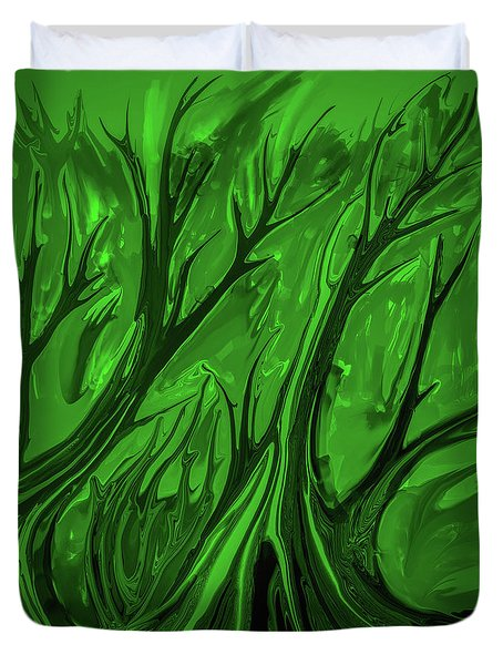 Duvet Cover featuring the digital art Play Green #h6 by Leif Sohlman