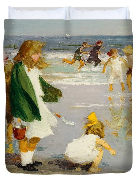 Play In The Surf Duvet Cover by Edward Henry Potthast