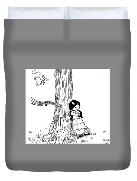 Play The Flute Under The Tree Duvet Cover