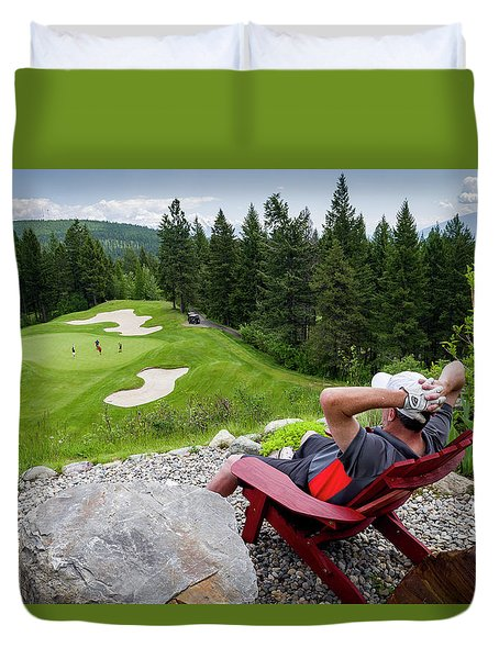 Duvet Cover featuring the photograph Play Through Or Enjoy The View by Darcy Michaelchuk