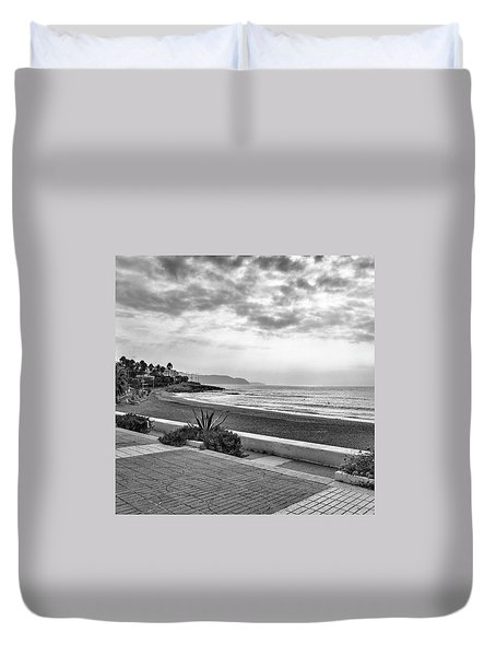 Playa Burriana, Nerja Duvet Cover by John Edwards