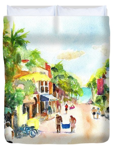 Playa Del Carmen Mexico Shops Duvet Cover