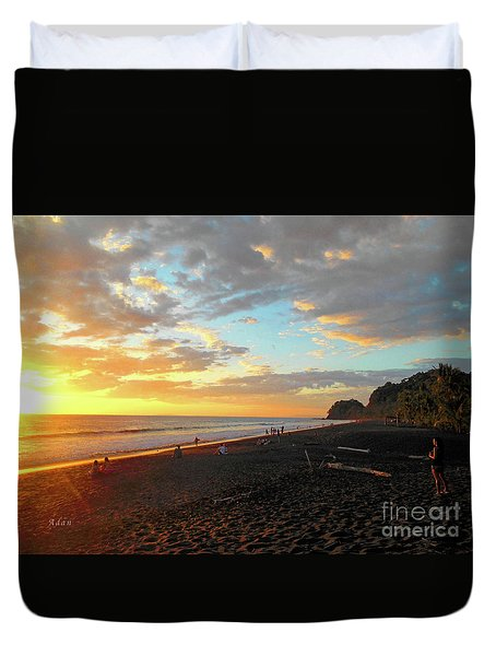 Playa Hermosa Puntarenas Costa Rica - Sunset A One Duvet Cover by Felipe Adan Lerma