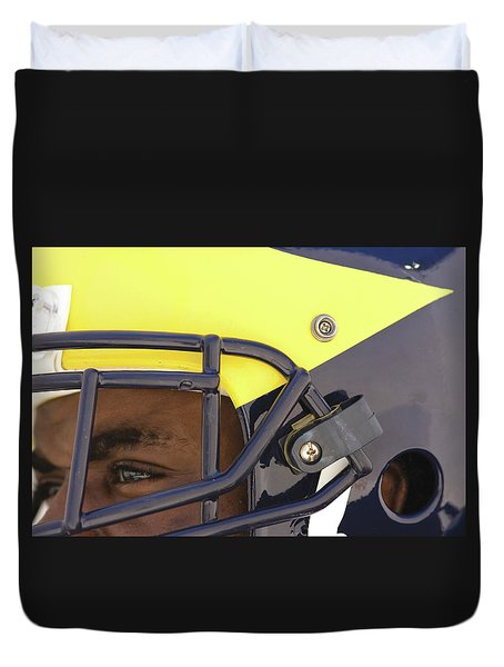 Player In Winged Helmet Duvet Cover