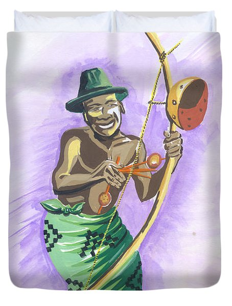 Player Umuduri From Rwanda Duvet Cover by Emmanuel Baliyanga