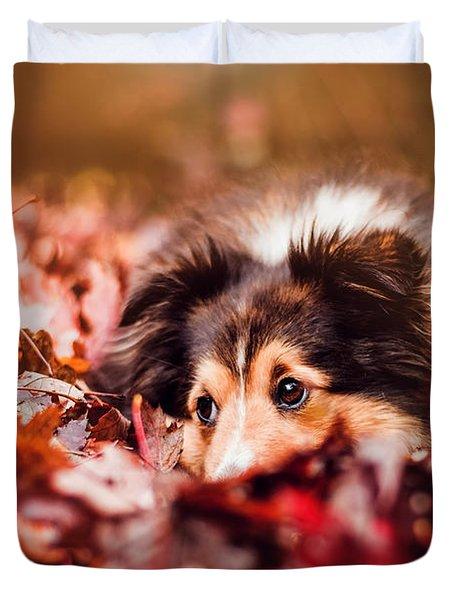 Playful Autumn Dog Duvet Cover