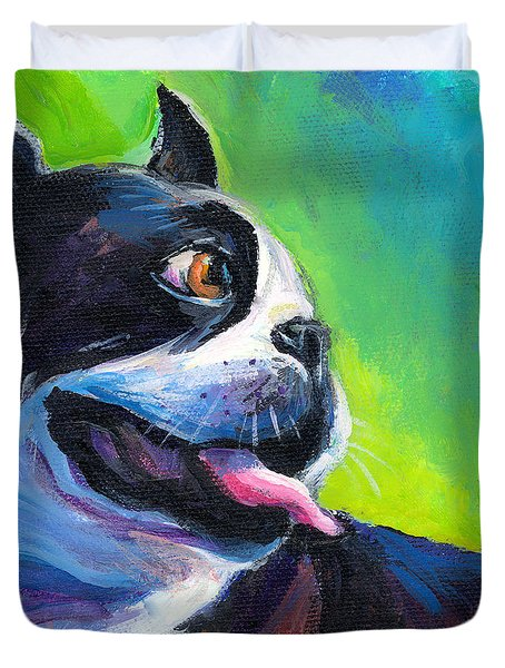Playful Boston Terrier Duvet Cover
