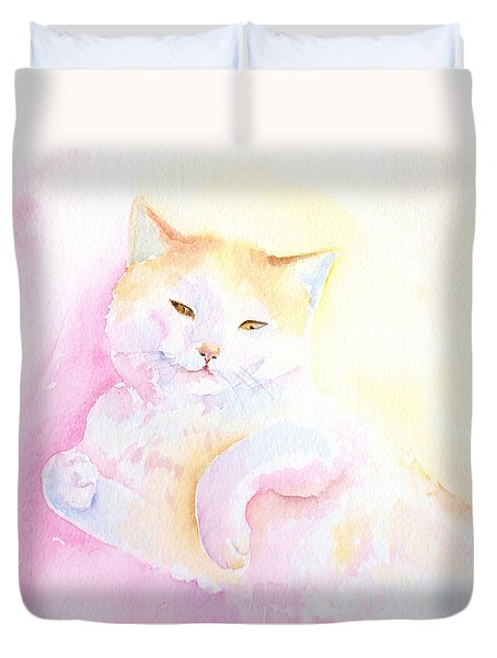 Playful Cat I Duvet Cover by Elizabeth Lock