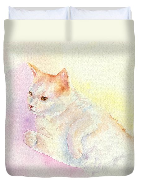 Playful Cat IIi Duvet Cover by Elizabeth Lock