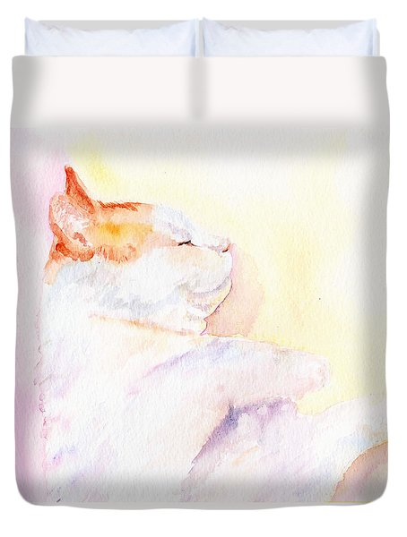 Playful Cat Iv Duvet Cover by Elizabeth Lock