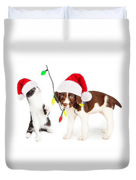 Playful Christmas Kitten And Puppy Duvet Cover