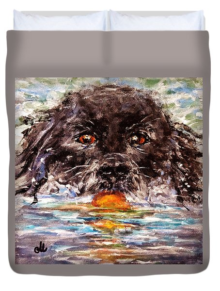 Duvet Cover featuring the painting Playful..2 by Cristina Mihailescu