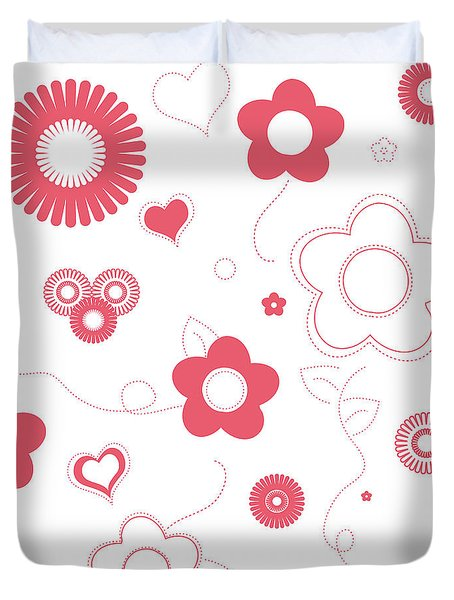 Playful Flower Background Duvet Cover