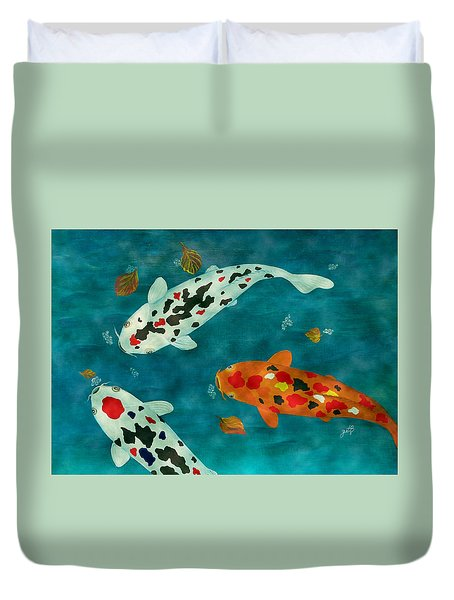 Duvet Cover featuring the painting Playful Koi Fishes Original Acrylic Painting by Georgeta Blanaru