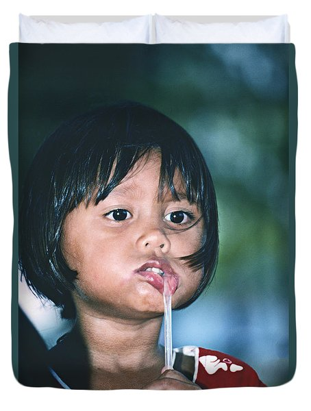 Duvet Cover featuring the photograph Playful Little Girl In Thailand by Heiko Koehrer-Wagner