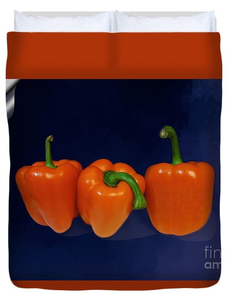 Playful Peppers Duvet Cover by Renee Trenholm