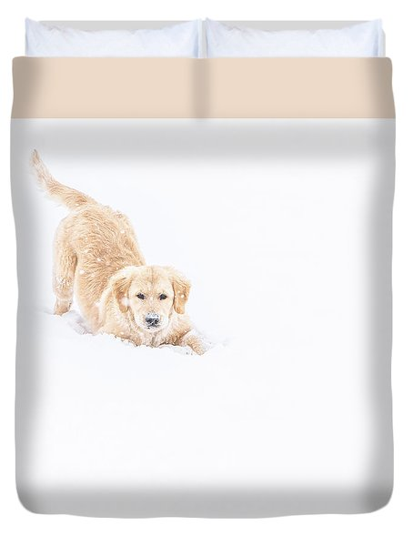 Playful Puppy In So Much Snow Duvet Cover