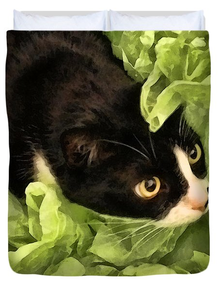 Playful Tuxedo Kitty In Green Tissue Paper Duvet Cover