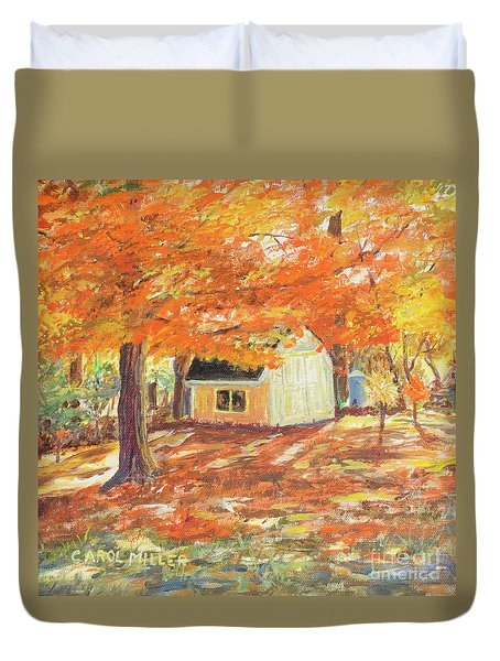 Playhouse In Autumn Duvet Cover