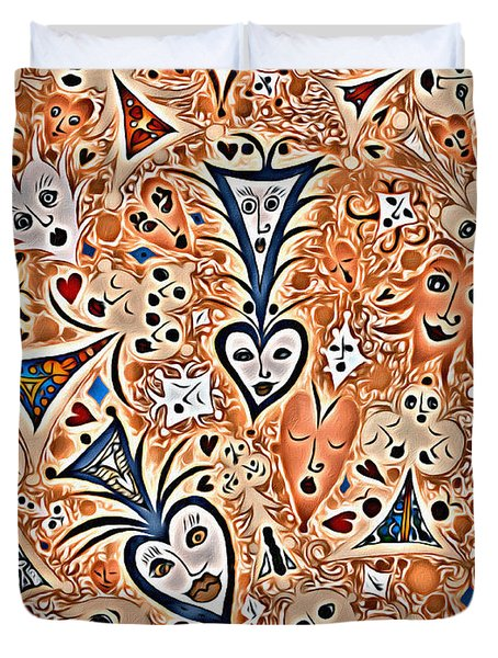 Playing Card Symbols With Faces In Rust Duvet Cover