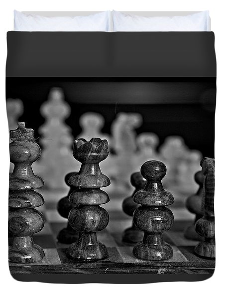 Duvet Cover featuring the photograph Playing Chess 2 by Cendrine Marrouat