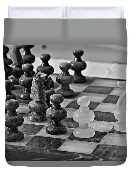 Duvet Cover featuring the photograph Playing Chess by Cendrine Marrouat