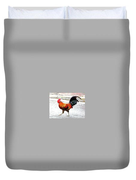 Playing Chicken Duvet Cover by Charles Shoup