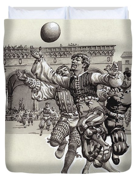 Playing Football In Florence  Duvet Cover