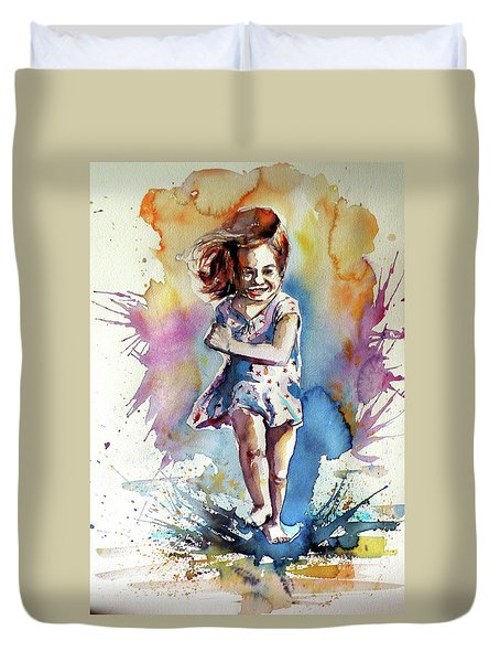 Duvet Cover featuring the painting Playing Girl by Kovacs Anna Brigitta