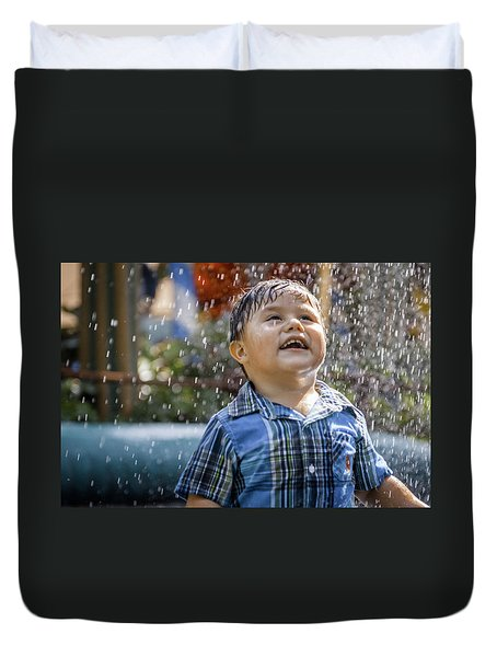 Playing In The Rain Duvet Cover by Ralph Vazquez
