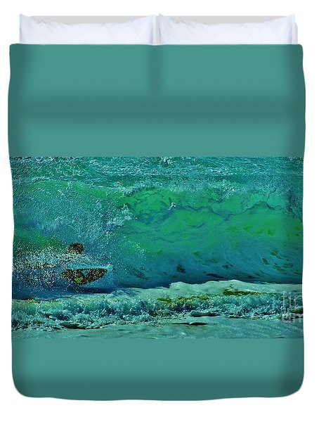 Playing In The Shore Break Duvet Cover by Craig Wood