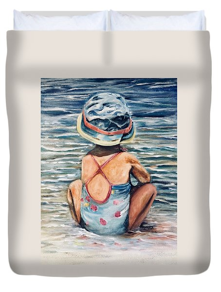 Playing In The Waves Duvet Cover