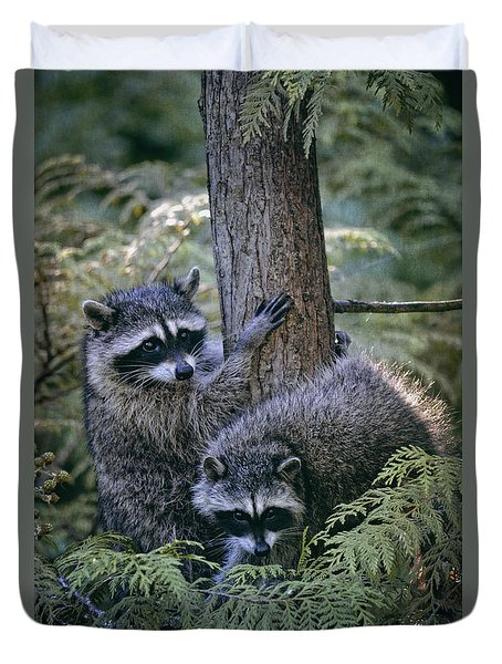 Playing In The Woods Duvet Cover