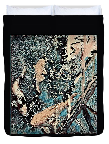 Duvet Cover featuring the digital art Playing It Koi by Mindy Newman