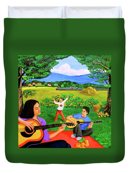 Playing Melodies Under The Shade Of Trees Duvet Cover