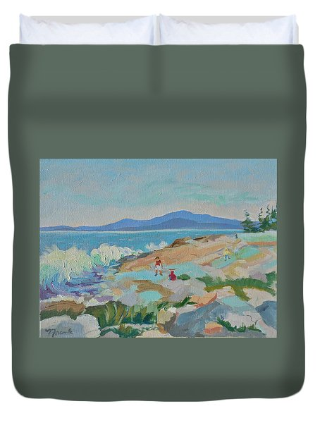 Playing On Schoodic Rocks Duvet Cover by Francine Frank