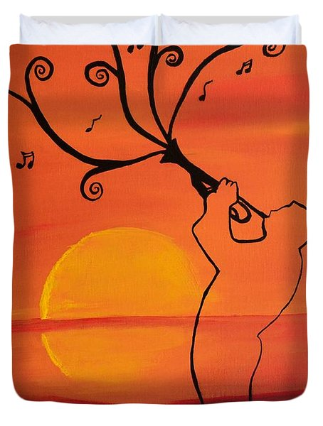 Playing Trumpet  Music Art By Saribelle Duvet Cover by Saribelle Rodriguez