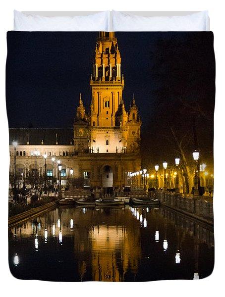 Plaza De Espana At Night - Seville 6 Duvet Cover