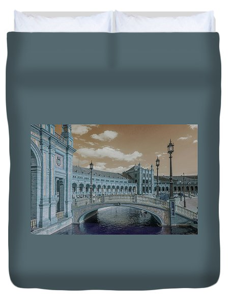 Duvet Cover featuring the photograph Plaza De Espana Vintage by Jenny Rainbow