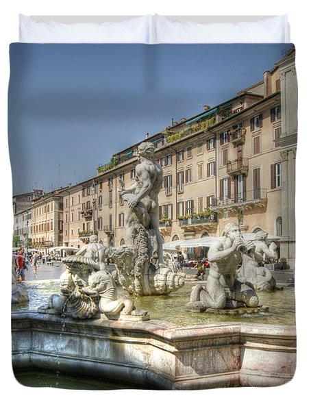 Plaza Navona Rome Duvet Cover