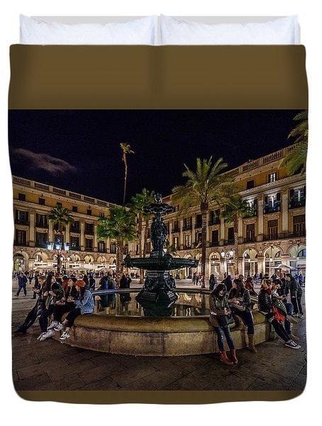 Plaza Reial Duvet Cover by Randy Scherkenbach