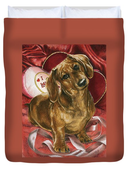Duvet Cover featuring the mixed media Please Be Mine by Barbara Keith
