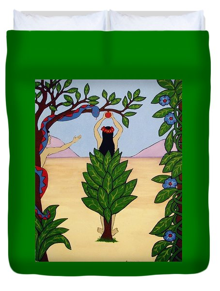 Duvet Cover featuring the painting Please Don't Pick That Apple by Stephanie Moore